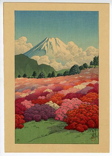 Kawase Hasui View of Mt. Fuji from an Azalea Garden