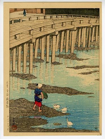 Kawase Hasui Gionbashi Bridge in Asakusa Hondo, Japanese Sceneries